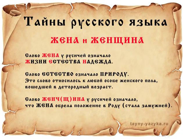 ЖЕНА - Тайны русского языка